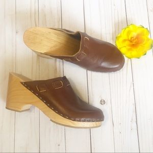 Shoes - NEW Handmade Swedish Wooden Clogs Boho Leather